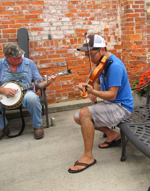 Old Time Music Jam on Main Street Mount Airy NC